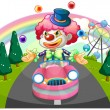 A clown riding in a pink car while juggling — Stock Vector