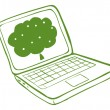 A green laptop with an image of a tree - Stock Vector