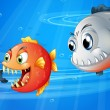 Three scary fishes - Stock Vector