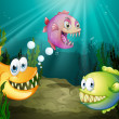 Three different kinds of fishes with big fangs under the sea - Stockvectorbeeld