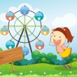 Stock Vector: Girl beside empty board with ferris wheel at back