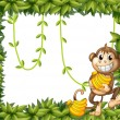 A happy monkey holding bananas — Stock Vector