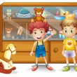 Two young boys in front of a cabinet with toys — Stock Vector