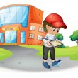 A boy holding a gadget near the school — Stock Vector