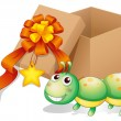 A caterpillar toy beside a box - Imagens vectoriais em stock