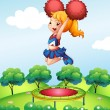 A cheerdancer holding her red pompoms above the trampoline — Stock Vector