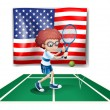 A tennis player in front of the USA flag — Stock Vector