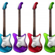 Four colorful electric guitars - Stock Vector