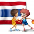 Stock Vector: Two boys playing basketball in front of Thailand flag
