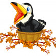 Stock Vector: Black bird inside basket
