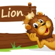 A lion with a crown relaxing beside a signboard — Stock Vector