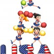 The USA cheering squad — Stock Vector #23776185