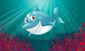 A blue shark under the sea — Stock Vector