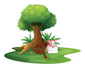 A pig holding an empty signage under the big tree — Stock Vector