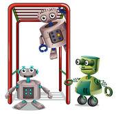 Three robots playing — Stock Vector