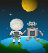 An astronaut beside a robot in the outer space — Stock Vector