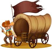 A gunman with a wagon — Stock Vector