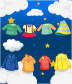 Different hanging clothes — Stock Vector