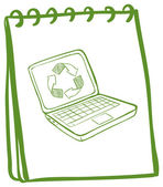 A green notebook with a laptop at the cover page — Stockvector