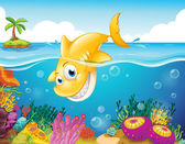 A yellow shark diving into the sea — Stock Vector