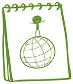Notebook z szkic chłopca powyżej globus — Wektor stockowy