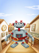 A village with a robot — Stock Vector