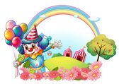 A female clown at the hill with a rainbow — Stock Vector
