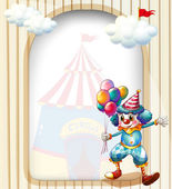 A clown with balloons at the entrance of the carnival — Stock Vector