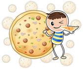 A boy with a slice of pizza — Stock Vector