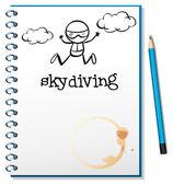 Un cuaderno con una imagen de una persona en paracaídas — Vector de stock