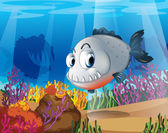 A piranha near the coral reefs — Stock Vector