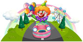 A happy clown riding in a pink car — Stock Vector