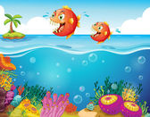 Two scary piranhas at the sea — Stock Vector