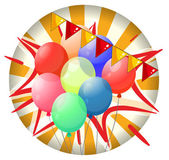 Balloons inside the spinning wheel — Stock Vector