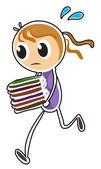 Dziewczyna kolejny trzymając książek — Wektor stockowy