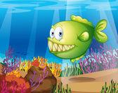A green piranha — Stock Vector