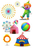 A clown with the different things in a carnival — Stock Vector