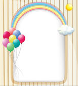 An empty template with a rainbow and balloons — Stock Vector