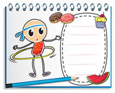 A notebook with a sketch of a young child with a hula hoop — Stock Vector