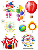 A clown playing balls with different circus stuffs — Stock Vector