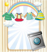 A washing machine with hanging clothes at the top — Stock Vector