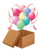 Balloons in the box — Stock Vector