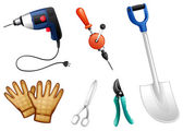Six different kinds of construction tools — Stok Vektör