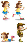 Different activities of a young girl — Stockvector