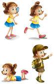 Olika aktiviteter för en ung flicka — Stockvektor