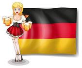 Ein mädchen mit brille bier vor der deutschland-flagge — Stockvektor
