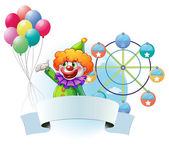 A clown with balloons, an empty banner and a ferris wheel at the — Stock Vector