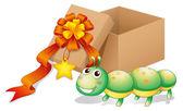 A caterpillar toy beside a box — Stock Vector