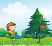 A girl playing golf in the hill — Stock Vector