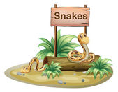 A wooden signboard with snakes — Stock Vector
